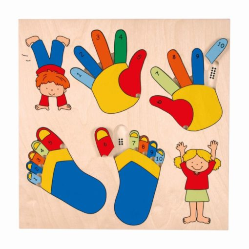 Inlay puzzle board fingers and toes - Educo