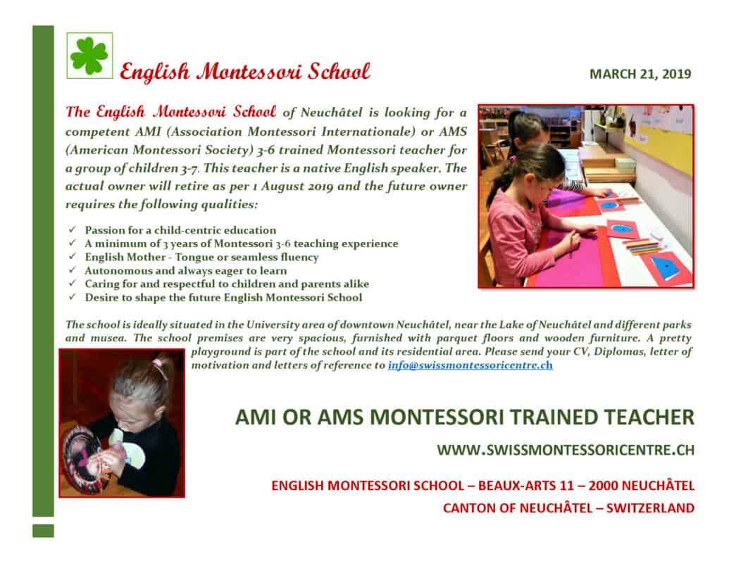 Vacancy Montessori teacher Neuchatel