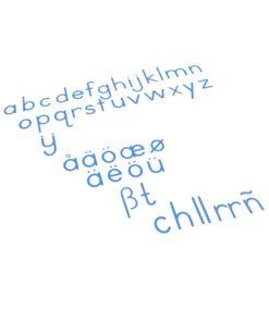 montessori language materials Small Movable Alphabet: International Print - Blue - Nienhuis Montessori