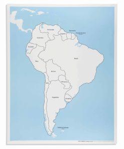 Montessori continent puzzle South America Control Map: Labeled - Nienhuis Montessori
