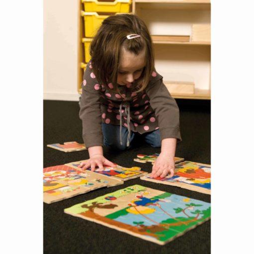 Puzzle à 4 niveaux, activités quotidiennes - Educo