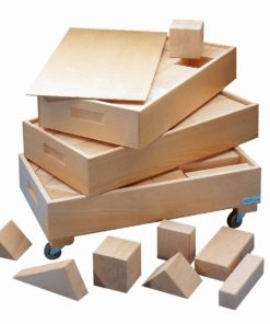 Large wooden building blocks in 3 boxes - Educo