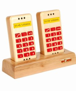 Wooden push button telephone set - Educo