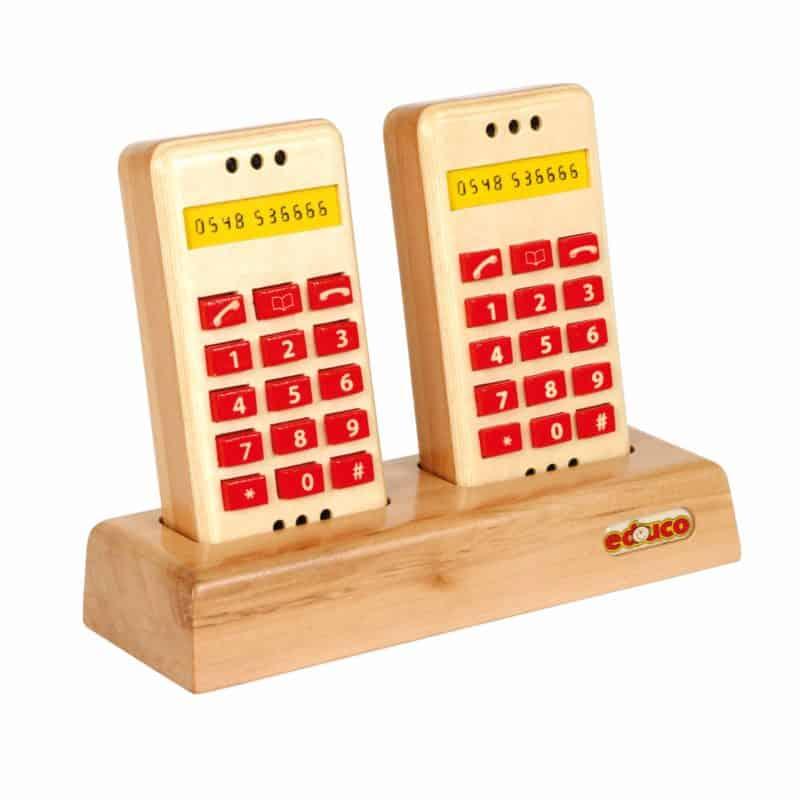Wooden push button telephone set - Educo