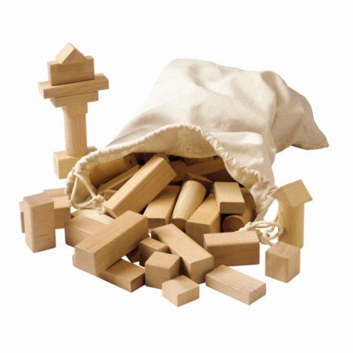 Blocs de construction en bois, coloris naturel - Educo