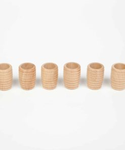 6 honeycomb beakers natural wood - Grapat
