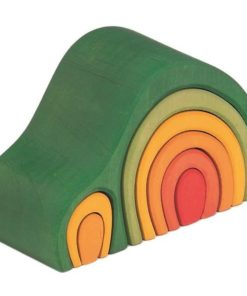 Handmade wooden stacking toy Arch house green - Glückskäfer