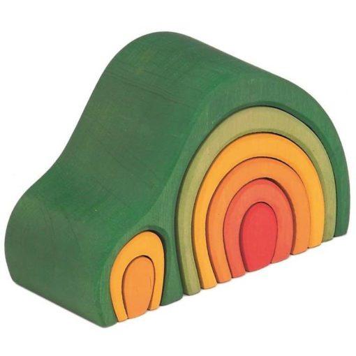 Handmade wooden stacking toy Arch house green - Glückskäfer