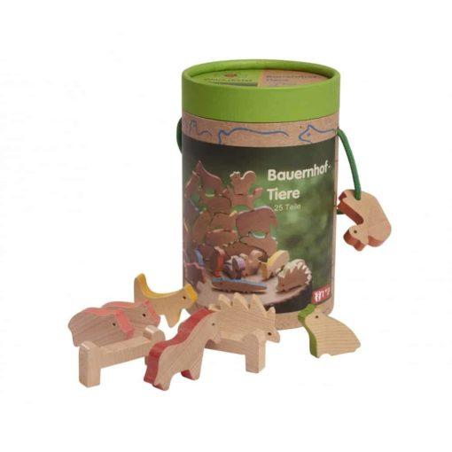 Handmade wooden toy animals Farm animals wood - Glückskäfer