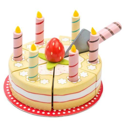 Wooden pretend play toy Vanilla Birthday Cake - Le Toy Van