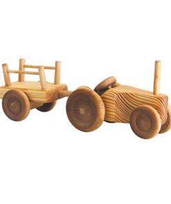 Petit tracteur en bois avec chariot - Debresk - Teia Education Suisse