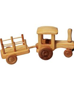 Tracteur en bois avec chariot - Debresk - Teia Education Suisse