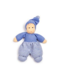 Mopschen doll - blue stripes (28 cm) - Nanchen Natur Puppen - Teia Education Switzerland