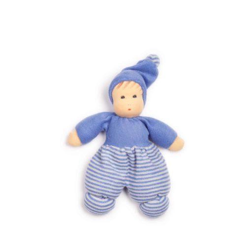 Mopschen doll - blue stripes (28 cm) - Nanchen Natur Puppen - Teia Education Switzerland