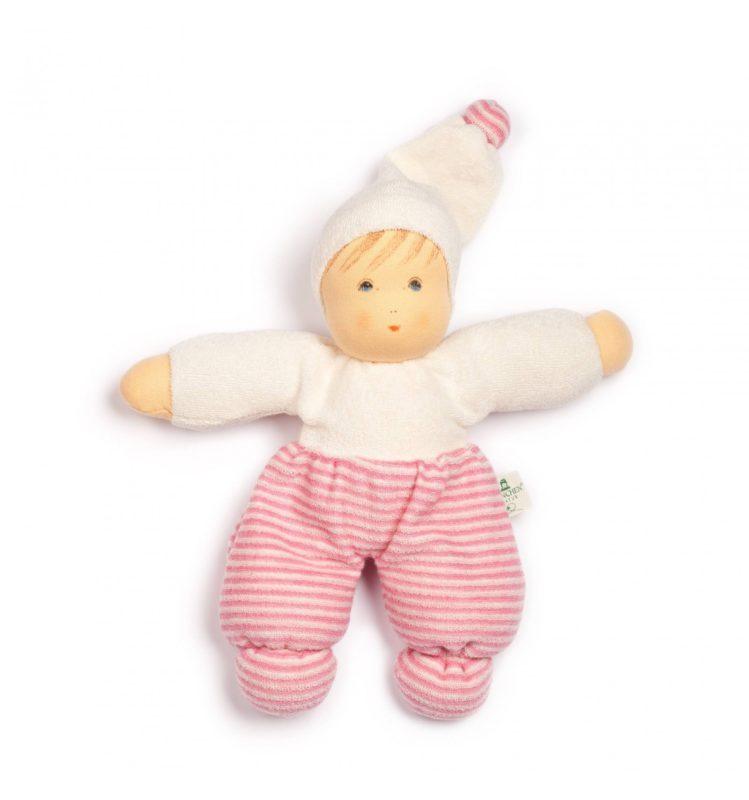 Mopschen doll pink stripes - Nanchen Natur Puppen - Teia Education Switzerland