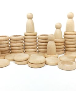 Nins®, rings and coins natural wood toy kit / Handmade sustainable wooden toys - Grapat