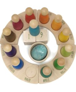Handmade sustainable wooden toy Perpetual calendar Italian – Grapat