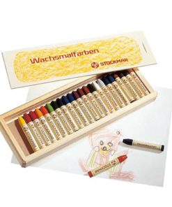 Waldorf art supplies wax stick crayons (24) in wooden box - Stockmar