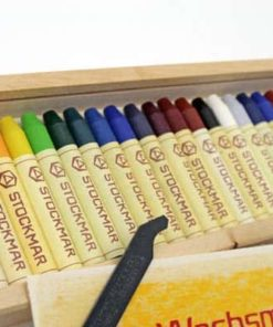 Stockmar wax stick crayons (24) in wooden box - Stockmar