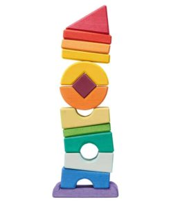 Handmade wooden stacking toy Wooden crooked tower - Glückskäfer