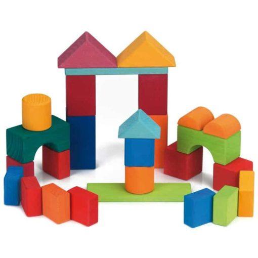 Handmade wooden blocks 27 wooden coloured building blocks - Glückskäfer