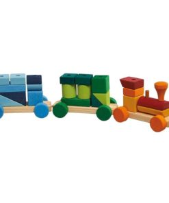 Handmade wooden toy train Colourful Shapes Train_Glückskäfer