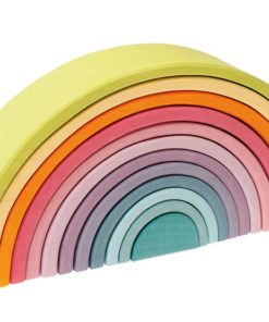 Handmade sustainable wooden toy Large pastel rainbow (12 Pieces) - Grimm's