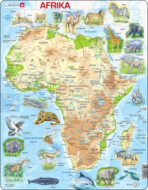 Maxi puzzle Africa with animals A22 - German - Larsen