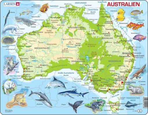 Maxi puzzle Australia with animals A31 - German - Larsen