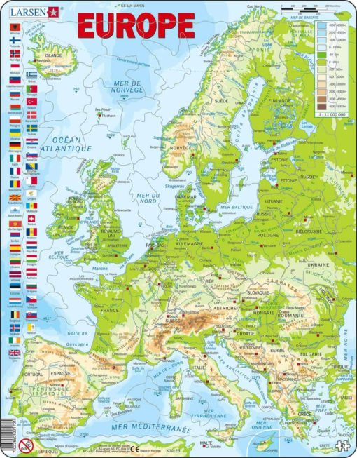 Maxi puzzle Europe physical map: French - Larsen
