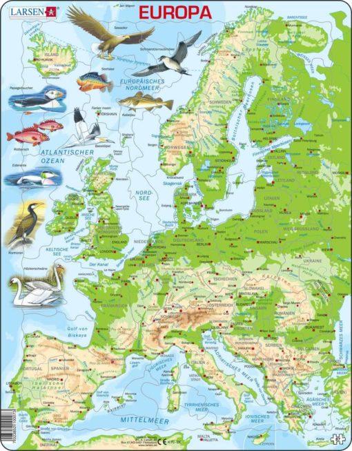 Maxi puzzle Europe physical map: German - Larsen