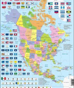 Maxi puzzle North America Political map: English - Larsen