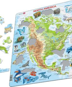 Maxi puzzle North America with animals A32 - English - Larsen