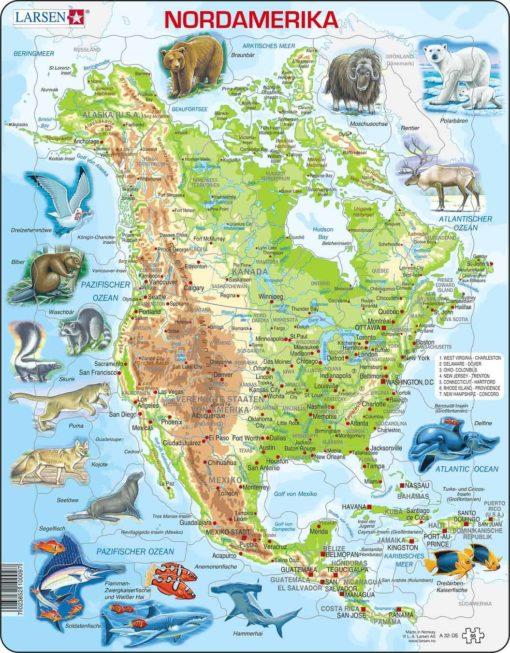 Maxi puzzle North America with animals A32 - German - Larsen