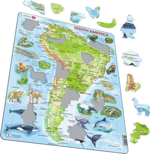 Maxi puzzle South America with animals A25 - English - Larsen