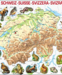 Maxi puzzle Switzerland physical map with animals - Larsen