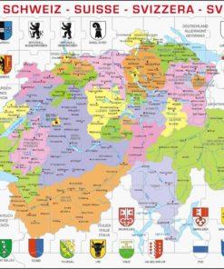 Maxi puzzle Switzerland political map - Larsen