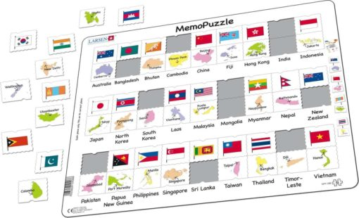 Maxi puzzle flags and capitals: Asia and the Pacific - Larsen