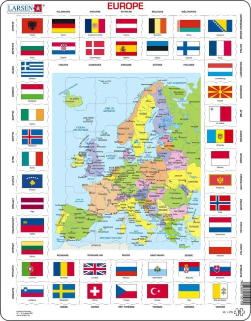 Maxi puzzle flags and political map of Europe: French - Larsen