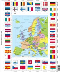 Maxi puzzle flags and political map of Europe: German - Larsen