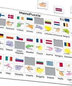 Maxi puzzle names, flags and capitals of 27 EU member states
