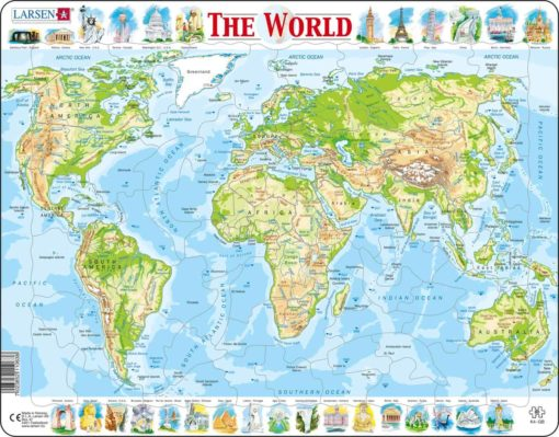 Maxi puzzle the world physical map: English - Larsen