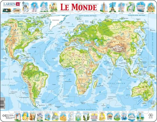 Maxi puzzle the world physical map: French - Larsen