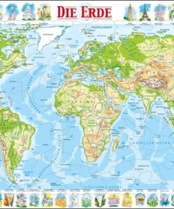 Maxi puzzle the world physical map: German - Larsen
