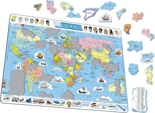 Maxi puzzle the world political map: English - Larsen