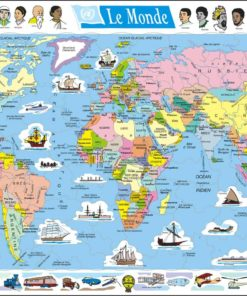 Maxi puzzle the world political map: French - Larsen