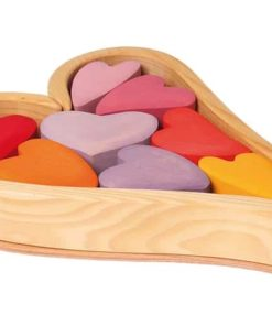 Handmade sustainable wooden toy Red hearts - Grimm's