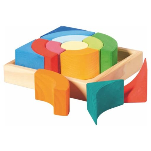 Wooden blocks- circles quadrat kit - Glückskäfer