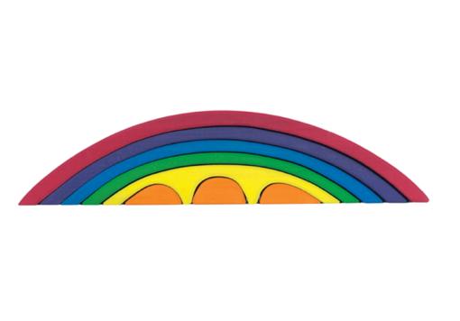 / Handmade wooden stacking toy Wooden rainbow bridge set - Glückskäfer