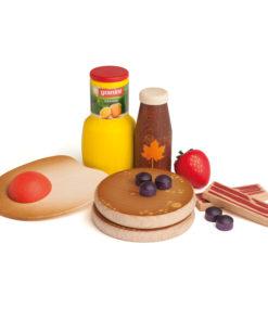 Realistic wooden play food American breakfast - Erzi